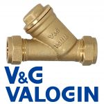 V&G Compression 15 mm Brass Y-Filter