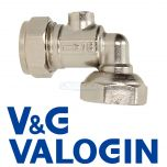"V&G Compression 15 mm X 1/2"" Angled Chrome Service Valve"